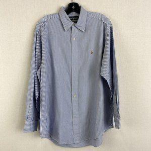 RALPH LAUREN Blue Stripe 100% Cotton Shirt
